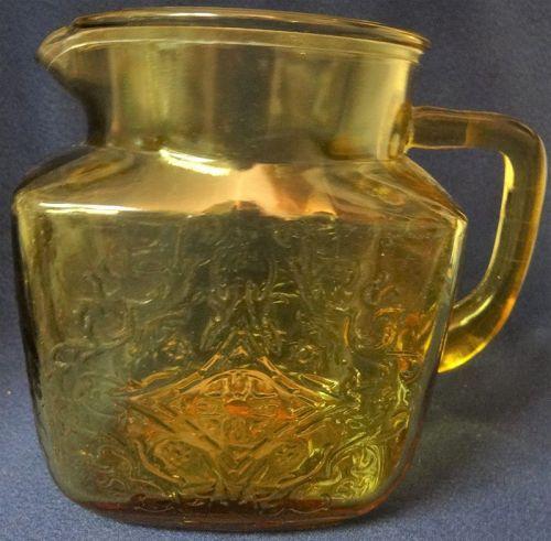 "Madrid Amber Juice Pitcher 5.5"" 36 oz Federal Glass Company"