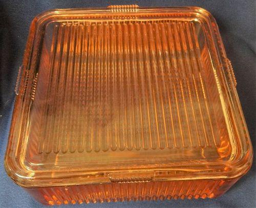 Refrigerator Dish & Lid Pink 8 x 8 Federal Glass Company