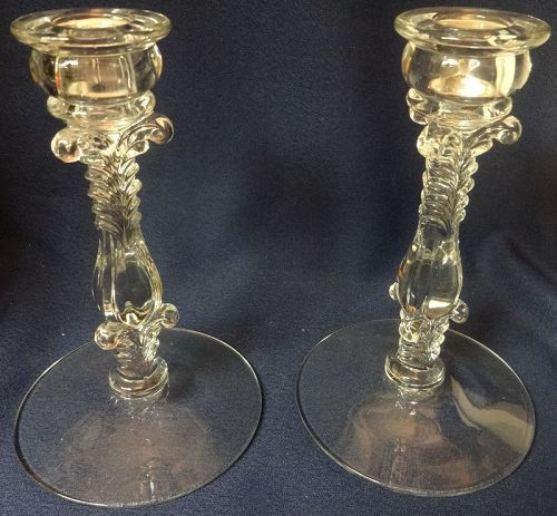 """Line 3121 Crystal Candlestick Pair 7"""" Cambridge Glass Company"""