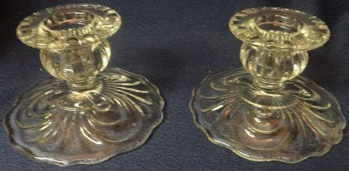 "Caprice Crystal Candlestick Pair 2.5"" #67 Cambridge Glass Company"