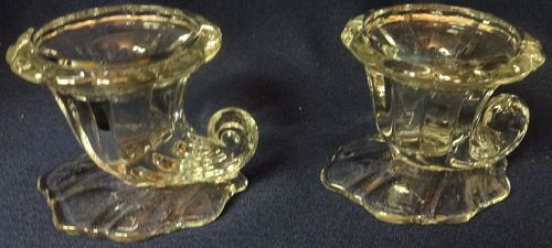 "Warwick Crystal Candlestick Pair 2.5"" Heisey Glass Company"