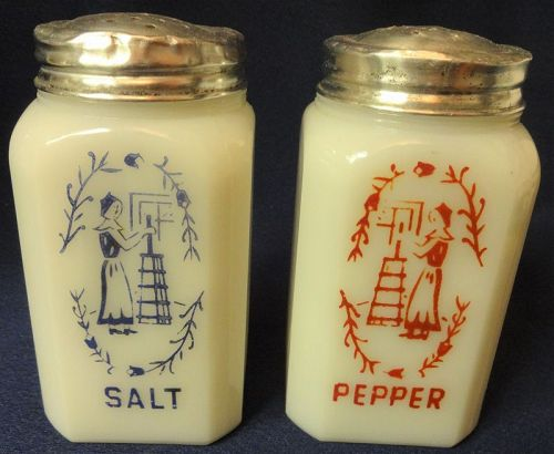 "Churning Ladies White Salt & Pepper 4.75"" Hazel Atlas Glass Company"