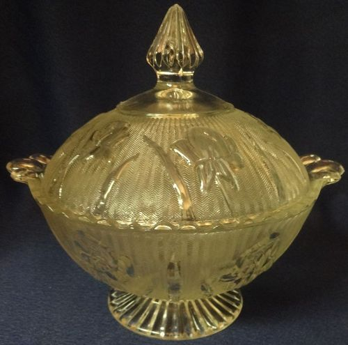 Iris Crystal Candy Dish Jeannette Glass Company