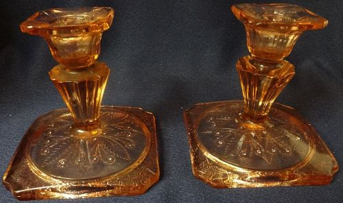 """Adam Pink Candlestick Pair 4"""" Jeannette Glass Company"""