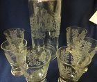"""Gazebo Crystal Decanter Rooster Stopper 13"""" 6 Tumblers 3.5"""" Paden City"""