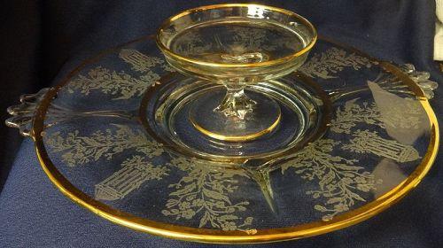 "Gazebo Crystal Gold Trim Platter 12"" Handled & Cheese Paden City"