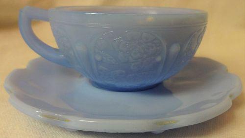 Cherry Blossom Junior Delphite Cup & Saucer Jeannette Glass Company