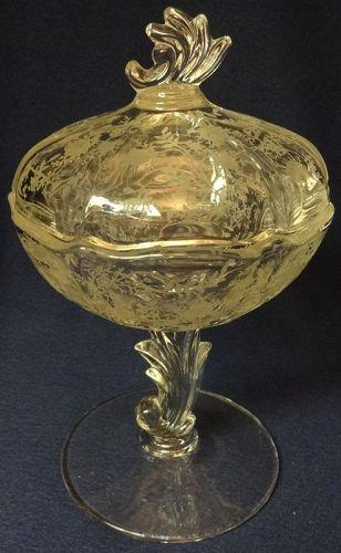 Chintz Crystal Jelly & Cover Fostoria Glass Company