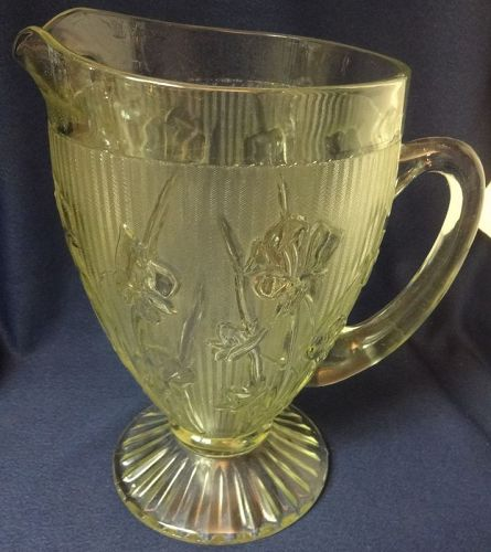 """Iris Crystal Pitcher Footed 9.5"""" Jeannette Glass Company"""