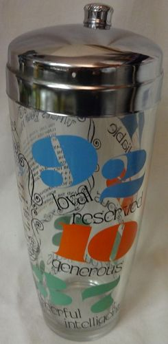 """Cocktail Shaker Crystal Orange Green & Blue 9.5"""" What's Your #"""
