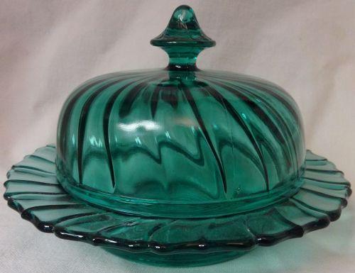 Swirl Ultramarine Butter Jeannette Glass Company