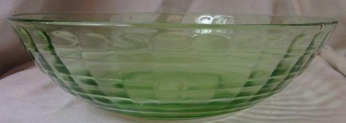 "Block Optic Green Large Berry Bowl 8"" Hocking Glass Company"
