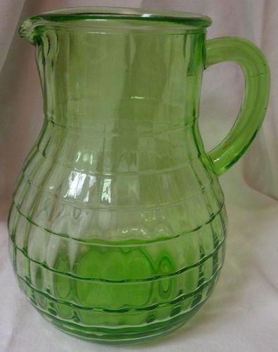 "Block Optic Green Balbous Pitcher 7 5/8"" 54 oz Hocking Glass Company"