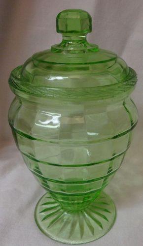 "Block Optic Green Candy 6.25"" Tall Hocking Glass Company"