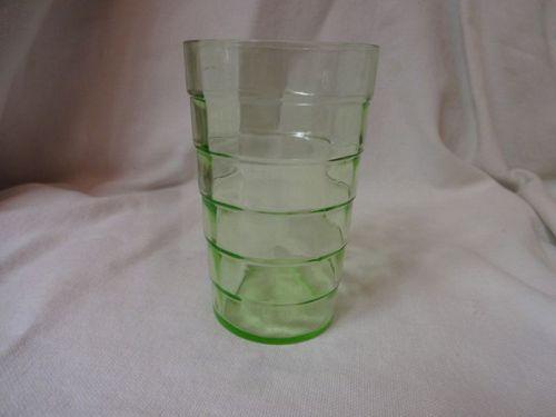 "Block Optic Green Juice Tumbler Flat 3.5"" 5 oz Hocking Glass Company"