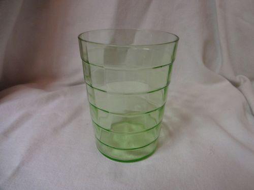 "Block Optic Green Water Tumbler 3 13/16"" 9.5 oz Hocking Glass Company"