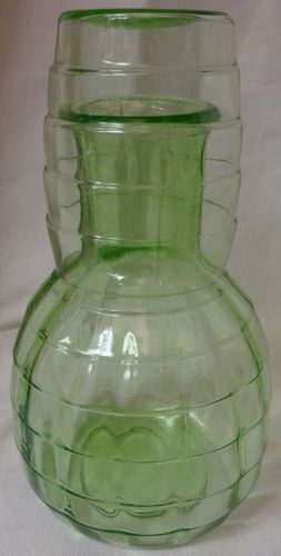 "Block Optic Green Tumbler Up 7"" Hocking Glass Company"