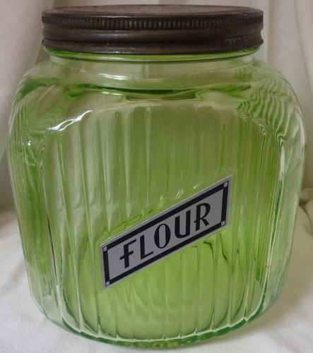 """Flour Canister Green Screw Top 8 1/8"""" 64 oz Hocking Glass Company"""