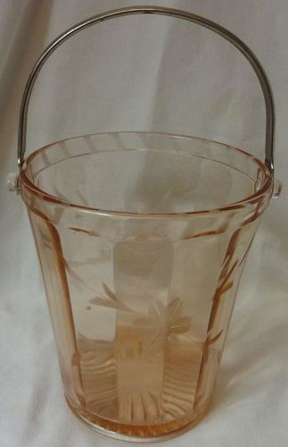 """Ice Bucket Pink Etched 6 1/8"""" Glass"""