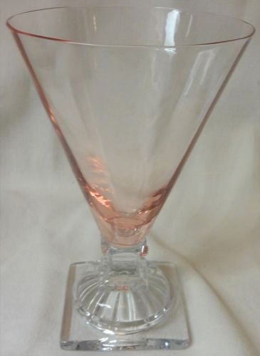 Water Tumbler Pink & Crystal Footed Set of 6 Glass