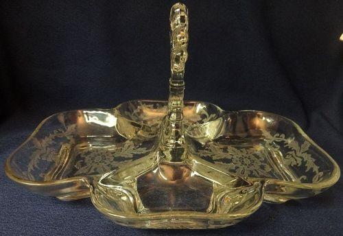 "Lorna Crystal Relish 4 Part 9 x 7.5"" Cambridge Glass Company"