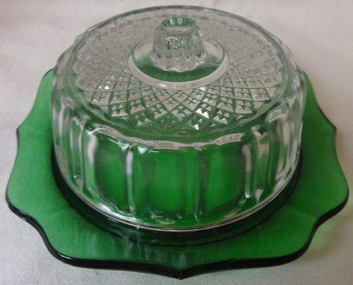 "Butter & Lid Green & Crystal 5"" 2.5"" Tall Hazel Atlas Glass Company"