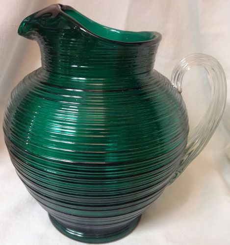 """Reeded Green Pitcher 8.5"""" 80 oz Ice Lip Imperial Glass Company"""