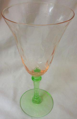 "Watermelon Goblet 7.75"" Pink & Green Glass"