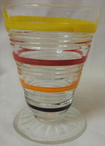 "Stripes Crystal Yellow Black Juice Tumbler Footed 3.25"" Hazel Atlas"