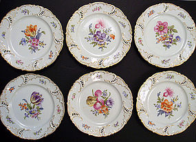 6 Antique Nymphenburg Reticulated Plates