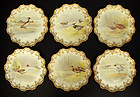 6 Antique Royal Doulton Bird Plates, Artist Signed