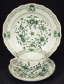 Meissen Green Indian Tea Cup, Saucer, & Plate
