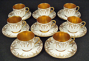 8 Antique Royal Doulton Demitasse Cup & Saucers