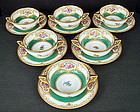 6 Antique Lamm Dresden Soup Cups & Saucers