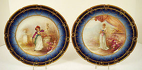 Fabulous Antique Pr of Haviland Limoges Portrait Plates