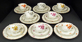 8 Delightful Nymphenburg Tea Cups, Saucer & Plates