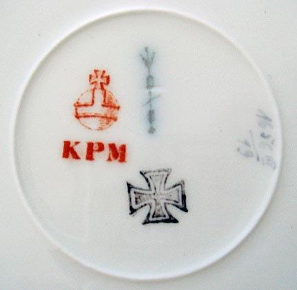 Set of 6 Antique KPM Floral Cabinet Plates