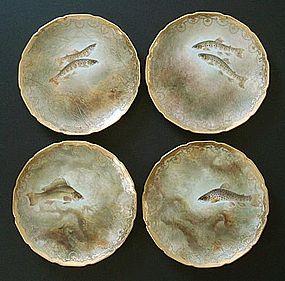 4 Antique Royal Doulton Fish Plates