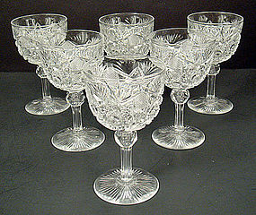 6 Antique American Brilliant Cut Crystal Wine Glasses