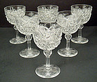 6 Antique American Brilliant Cut Crystal Wine Glasses