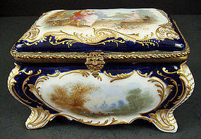 Antique Paris Porcelain Scenic Jewel Casket