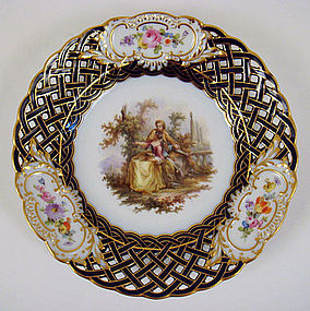 Antique Meissen Scenic Cabinet Plate