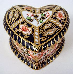 Antique Royal Crown Derby Heart Shaped Box