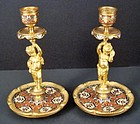 Victorian Figural Champlevé Gilt Candlesticks
