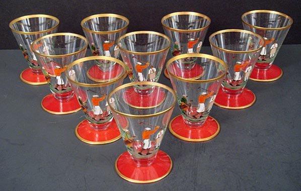 10 Czech Enameled Golf Glasses