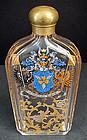 Antique Bohemian Enameled Glass Liquor Flask