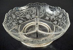 Cambridge Sectioned Glass Dish, Sterling Base