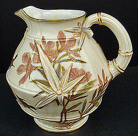 Antique Royal Worcester Pitcher, Bamboo & Birds