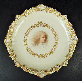 Antique Cauldon Portrait Plate, Signed Boullemiere