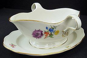 Vintage Meissen Gravy Boat with Underplate